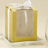 Gold Glitter 15 oz. Stemless Wine Glass Display Gift-Boxes (Set of 12)