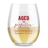 Kate Aspen Personalized 15oz 'Aged to Perfection' Stemless Wine Glass