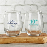 Kate Aspen Personalized 15oz Stemless Wine Glass (Anniversary Designs)