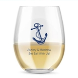 Kate Aspen Personalized 15oz Anchor & Rope Design Stemless Wine Glass