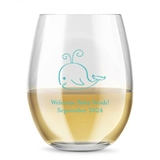 Kate Aspen Personalized 15oz Baby Whale Design Stemless Wine Glass