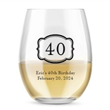 Kate Aspen Personalized 15oz Bold [X] Years Design Stemless Wine Glass