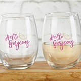 Cheery & Chic 'Hello Gorgeous' 15 oz. Stemless Wine Glasses (Set of 4)