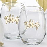 Kate Aspen #Celebrate Design 15 oz. Stemless Wine Glasses (Set of 4)
