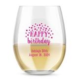 Kate Aspen Personalized 15oz Cheerful Birthday Stemless Wine Glass
