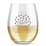 Kate Aspen Personalized 15oz Cheers Dots Design Stemless Wine Glass