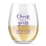 Kate Aspen Personalized 15oz Cheers to X Years Stemless Wine Glass