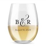 Kate Aspen Personalized 15oz Ampersand Design Stemless Wine Glass