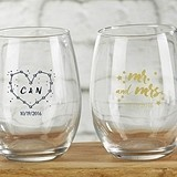 Kate Aspen Personalized 'Under the Stars' 15 oz. Stemless Wine Glasses