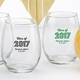 Personalized 15 oz Stemless Wine Glass w/ Class of 2017 Marquee Design