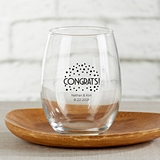 Kate Aspen Personalized Congrats Dots Design 15oz Stemless Wine Glass