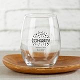 Kate Aspen Personalized Congrats Dots Design 15oz Stemless Wine Glass