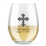Kate Aspen Personalized 15oz Ornate Cross Design Stemless Wine Glass