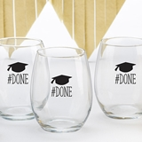Kate Aspen #DONE Graduation Design 15oz Stemless Wine Glass (Set of 4)