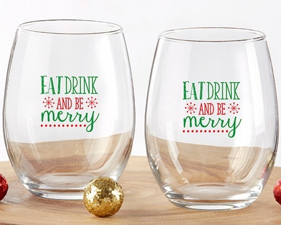 """""""Eat Drink and Be Merry"""" Stemless Wine Glasses (Set of 4)"""
