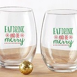 """Eat Drink and Be Merry"" Stemless Wine Glasses (Set of 4)"