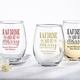 Personalized 'Eat, Drink & Be Merry' 15 oz. Stemless Wine Glass