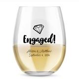 Kate Aspen Personalized 15oz Engaged Diamond Motif Stemless Wine Glass