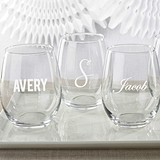 Kate Aspen Personalized Engraved 15 oz. Stemless Wine Glass
