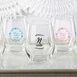 Kate Aspen Personalized 'Ethereal Dream' 15 oz. Stemless Wine Glasses