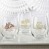 Kate Aspen Fall-Themed Personalized 15 oz. Stemless Wine Glasses