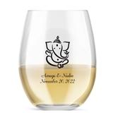 Kate Aspen Personalized 15oz Lord Ganesha Design Stemless Wine Glass