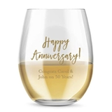 Kate Aspen Personalized 15oz Happy Anniversary Stemless Wine Glass