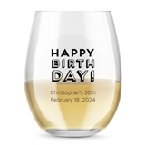 Kate Aspen Personalized Block Happy Birthday 15 oz Stemless Wine Glass