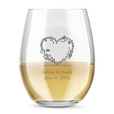 Kate Aspen Personalized 15oz Heart Floral Design Stemless Wine Glasses