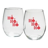 "Kate Aspen ""HO HO HO"" 15 oz. Stemless Wine Glasses (Set of 4)"