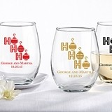 "Personalized ""Ho Ho Ho"" Design 15 oz. Stemless Wine Glasses"