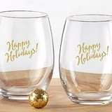 "Kate Aspen ""Happy Holidays"" Stemless Wine Glasses (Set of 4)"