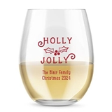 Kate Aspen Personalized 15oz Holly Jolly Design Stemless Wine Glasses