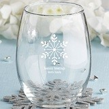 Kate Aspen Personalized Holiday Designs 15 oz. Stemless Wine Glasses
