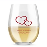Kate Aspen Personalized 15oz Hearts Entwined Motif Stemless Wine Glass