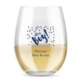 Kate Aspen Personalized 15oz 't's A Boy Confetti Stemless Wine Glass