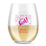 Kate Aspen Personalized 15oz It's A Girl Confetti Stemless Wine Glass