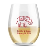 Kate Aspen Personalized 15oz Lucky Elephant Design Stemless Wine Glass