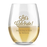 Kate Aspen Personalized 'Let's Celebrate!' 15 oz Stemless Wine Glass