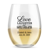 Kate Aspen Personalized 15oz Love Laughter Happily Stemless Wine Glass