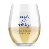 Personalized Modern Script Mr & Mrs Design 15oz Stemless Wine Glasses