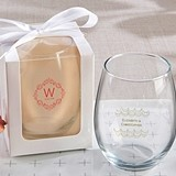 Kate Aspen Personalized 'Modern Romance' 15 oz. Stemless Wine Glasses