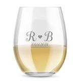 Kate Aspen Personalized 15oz Monogram Heart Design Stemless Wine Glass
