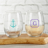 Kate Aspen Personalized 15oz Stemless Wine Glass (Monogram Designs)