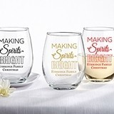 Personalized 'Making Spirits Bright' 15 oz. Stemless Wine Glass