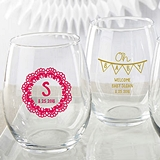 Personalized Rustic Charm Baby Shower 15 oz. Stemless Wine Glasses
