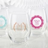 Kate Aspen Personalized 'Rustic Charm' 15 oz. Stemless Wine Glasses