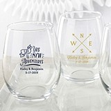 Kate Aspen Personalized Travel & Adventure 15 oz Stemless Wine Glasses