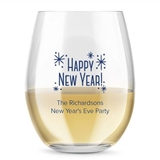 Kate Aspen Personalized New Year's Designs 15 oz Stemless Wine Glasses