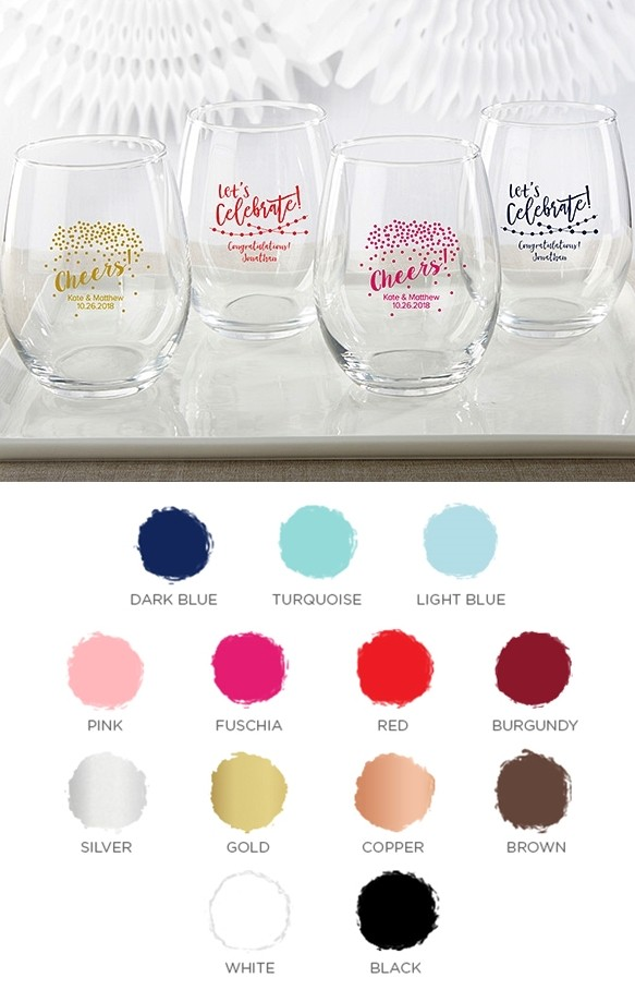 Personalized 15 oz. Stemless Wine Glasses (Party Time Designs)